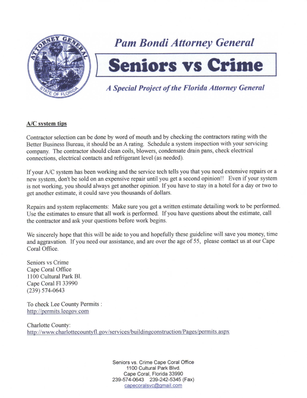 PHOTO:  A Seniors vs. Crime Consumer Protection Notice from The Office of Attorney General Pam Bondi.  (Photo courtesy of Cape Coral Police Department)