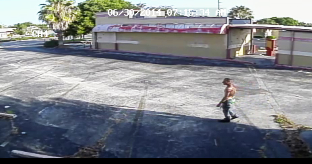PHOTO:  Still photos from surveillance video of a burglary suspect.  (Photo Courtesy of Cape Coral Police Department)