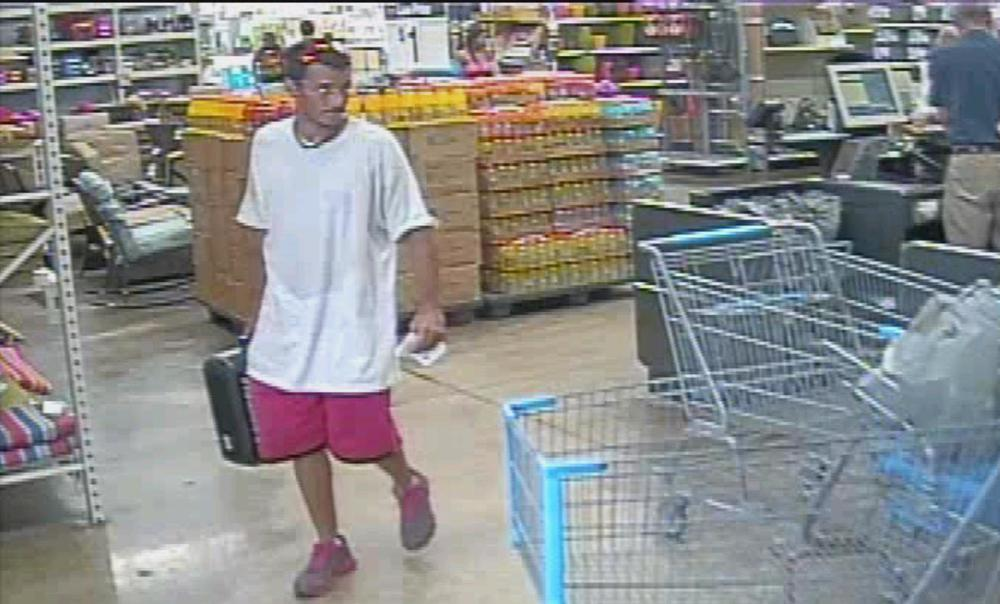 PHOTO:  The subject in these pictures used a credit card that was stolen from a vehicle at the Walmart on Del Prado Boulevard to purchase an impact drill on September 1, 2014..  (Photo Courtesy of Cape Coral Police Department)