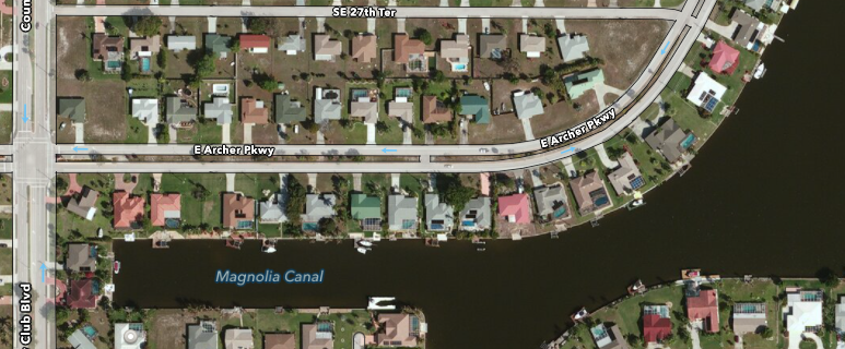 PHOTO:  Aerial view of the 1000 block of Archer Parkway, Cape Coral.  (Photo Courtesy of Apple)