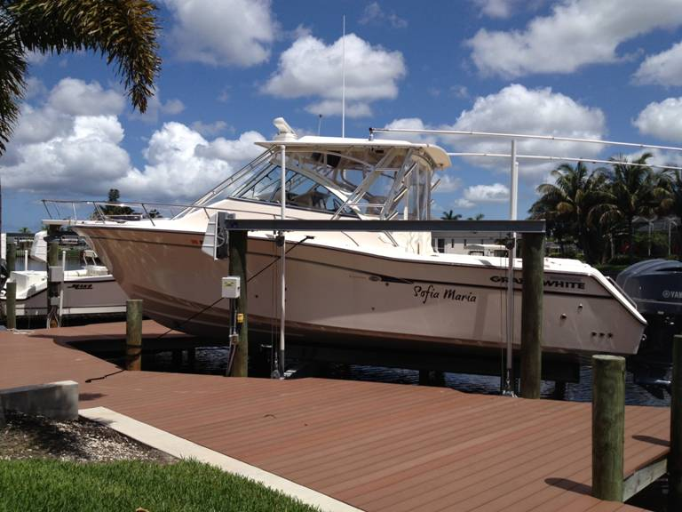 PHOTO:   The boat pictured   is a Grady White 330 Express (  FL# 5262  NV)   that was stolen from a boat lift at 449 Bayshore Dr, Cape Coral.   (Photo Courtesy of Cape Coral Police Department)