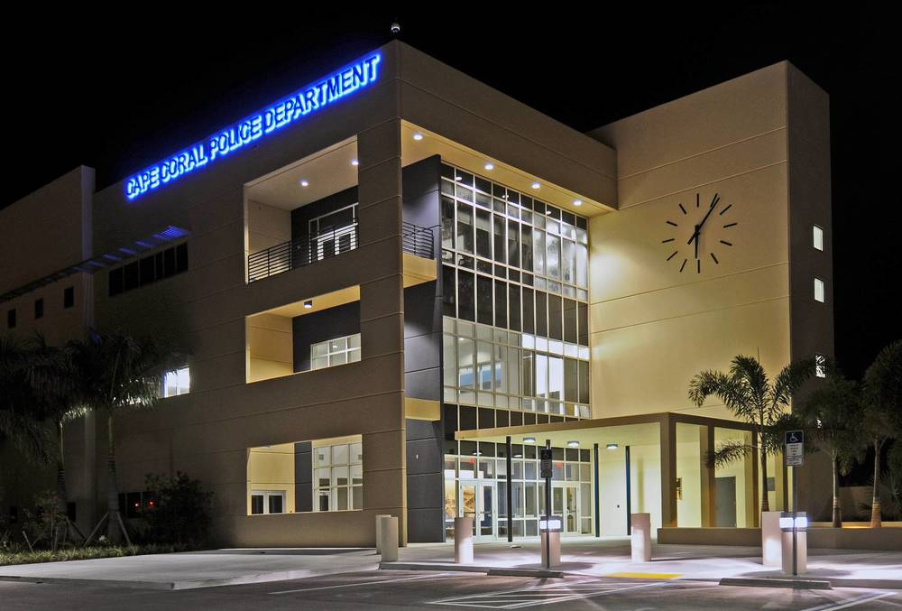 PHOTO:  Cape Coral Police Department HQ at night.  (Photo Courtesy of Cape Coral Police Department)