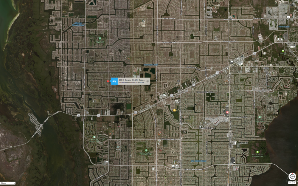 PHOTO:  Aerial map showing the approximate location of the crash.  (Photo Courtesy of  Apple, Inc. )