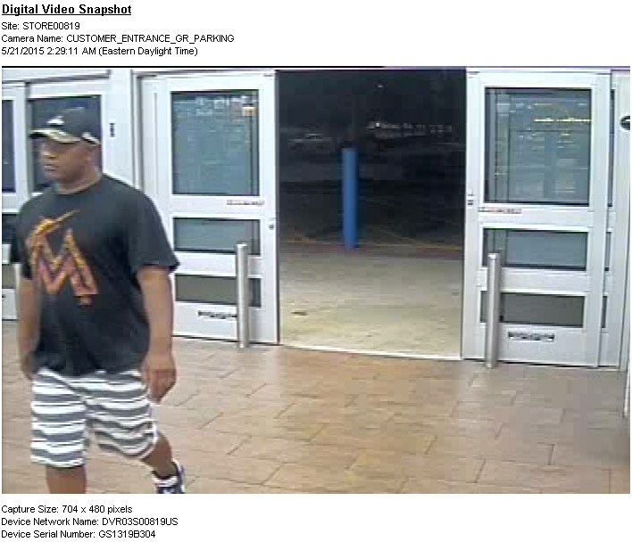 PHOTO:  Same suspect seen on another attempt at stealing razors on May 21, 2015.  (Photo Courtesy of Cape Coral Police Department)