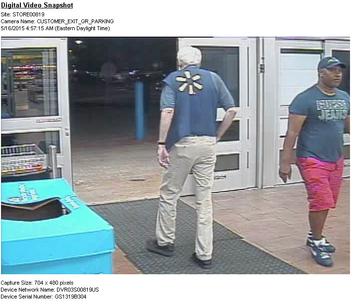 PHOTO:  Suspect seen entering Walmart on May 16, 2015.  He is wearing red shorts, a dark t-shirt, and dark ball cap.  (Photo Courtesy of Cape Coral Police Department)