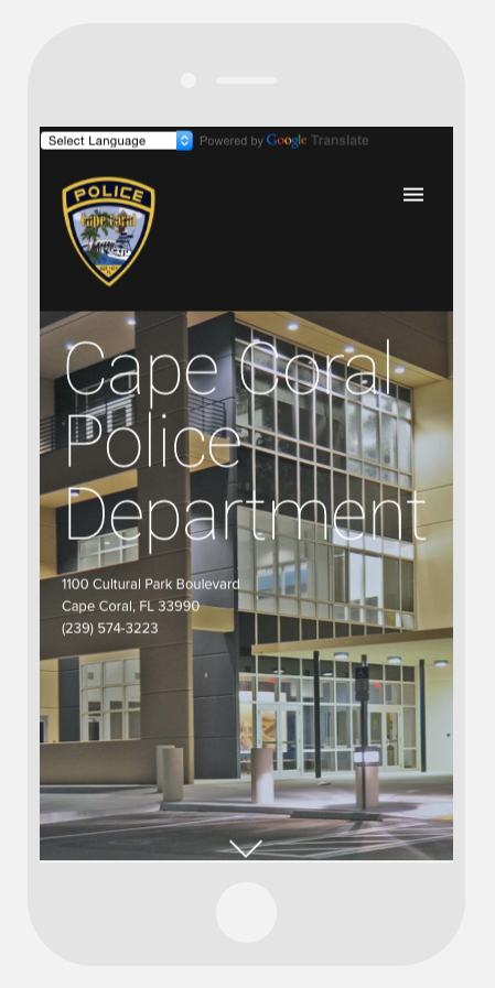 PHOTO:  The new capecops.com will automatically reformat itself according to the device on which you are viewing it.  Here's an example of how it looks on a smartphone.  (Photo Courtesy of Cape Coral Police Department)