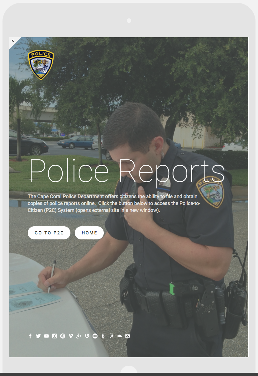PHOTO:  The new capecops.com will automatically reformat itself according to the device on which you are viewing it.  Here's an example of how it looks on a tablet.  (Photo Courtesy of Cape Coral Police Department)