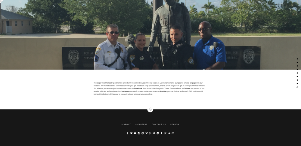 PHOTO:  The new capecops.com will have a persistent secondary navigation menu at the bottom of the page and will also offer you social media buttons to connect with us and share content.  (Photo Courtesy of Cape Coral Police Department)