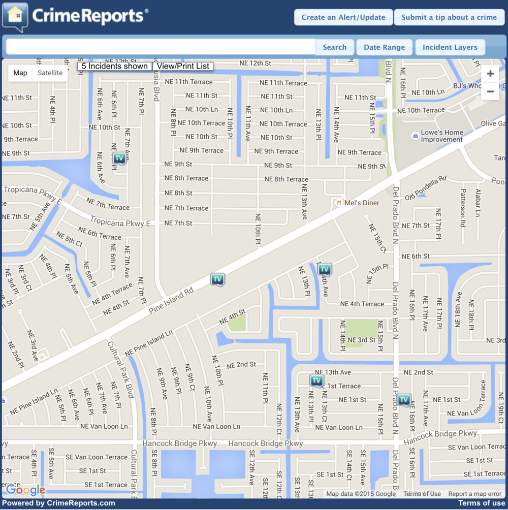 This is one of five reported car burglaries that occurred in this area (shown above form the Cape Coral Police Department Interactive Crime Map) in the last seven days.