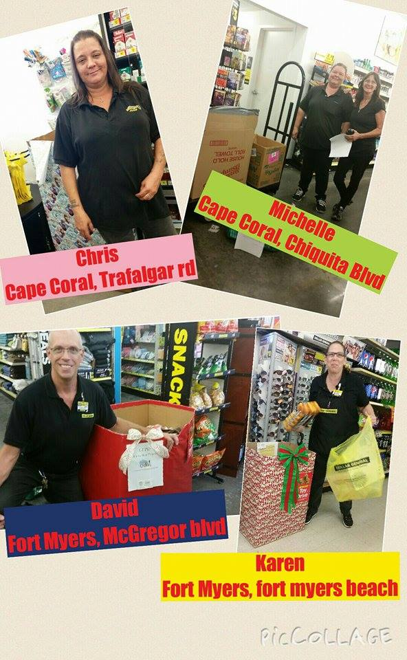 PHOTO:  Managers of four Dollar General stores in the area stepped up to help Cape Coral Police Department collect toys for the fill the Boat toy Drive.  (Photo Courtesy of Kimmy Leger)
