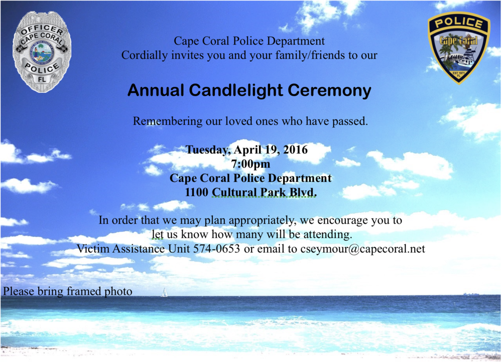 PHOTO:  Invitation to Annual Candlelight Ceremony.  (Photo Courtesy of Cape Coral Police Department)