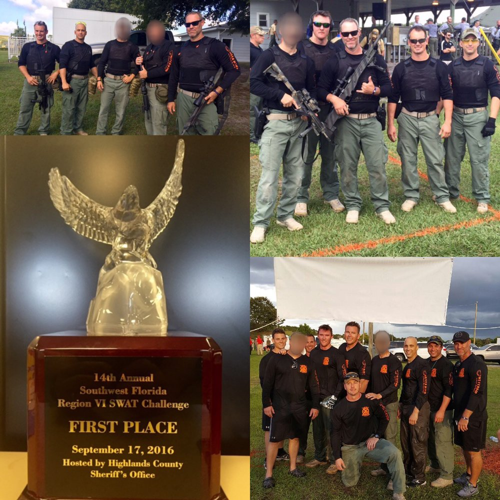 PHOTO:  A photo collage of the Cape Coral Police Department swat team and the first place trophy they were awarded on September 17, 2016 at the 14th Annual Region VI SWAT Competition.  (Photo Courtesy of Cape Coral Police Department)