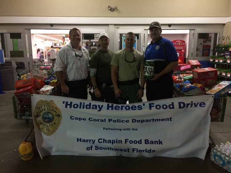 "Results of Cape Coral Police's 5th Annual ""Holiday Heroes"" Food Drive for the Harry Chapin Food Bank"