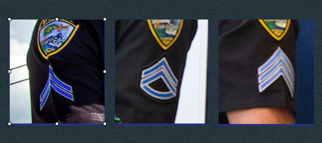 L to R: Two chevrons for Corporal, an added rocker for Master Corporal, and the triple chevron for Sergeant.