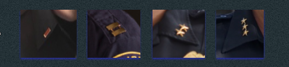 L to R: Single gold bar for Lieutenant, double gold bar for Captain (seen here on Class A uniform's epaulet), two stars for Deputy Chief, three stars for Chief.