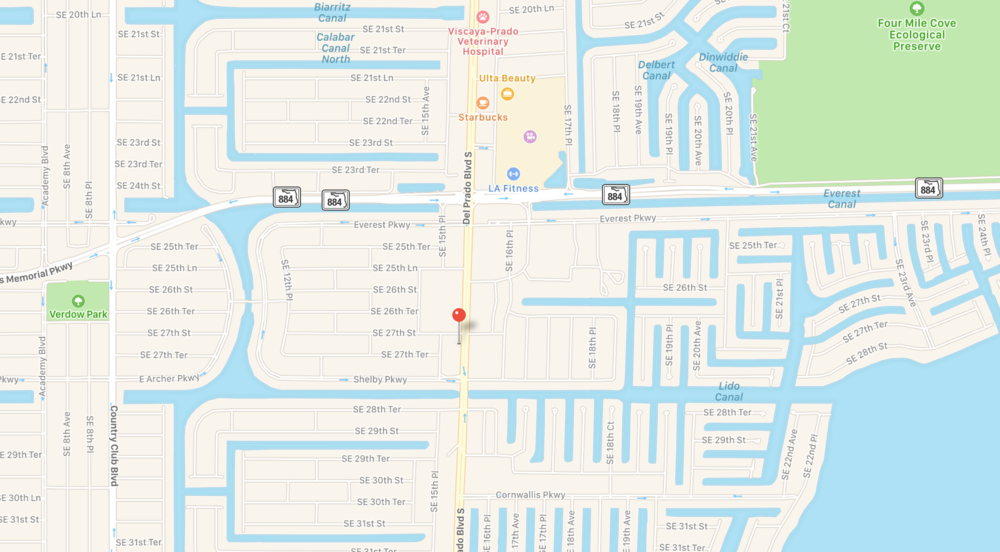 PHOTO:  Map showing 2700 block of Del Prado Boulevard South.  (Photo Courtesy of Apple, Inc)