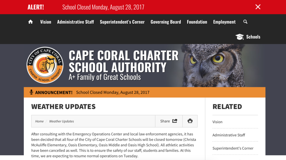 Click on photo to go to the Cape Coral Charter School Authority website.
