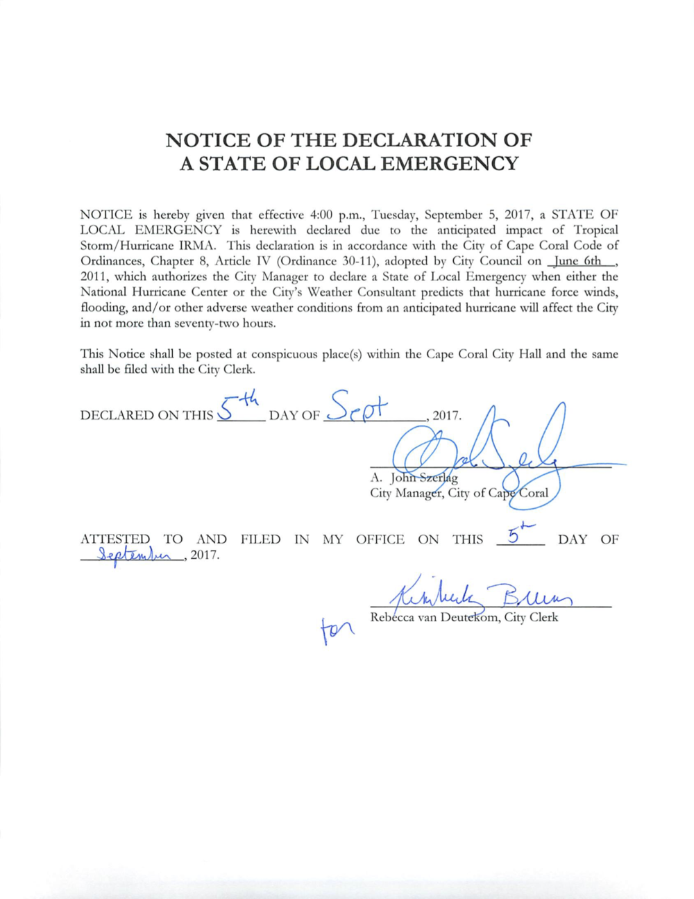 Notice of the Declaration of A State of Local Emergency - Hurricane Irma.png