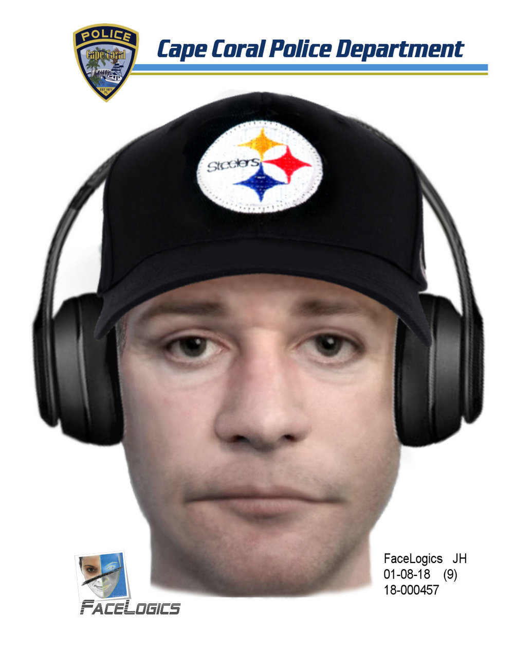 Composite render of suspect in CCPD case number 18-000457 (Bank of the Ozarks robbery).
