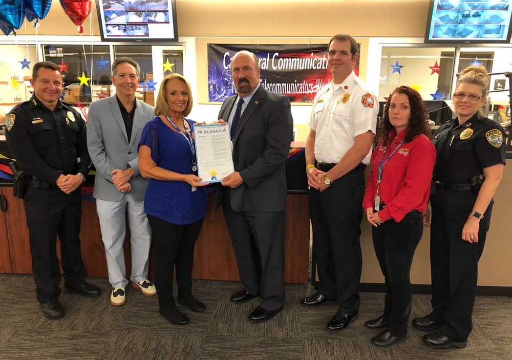 L to R: CCPD Chief Dave Newlan, Cape Coral City Manager John Szerlag, CCPD Commander Kristie Van Houten, Cape Coral Mayor Joe Coviello, CCFD Interim Fire Chief Mike Russell, Communications Manager Tazkoma Burgoyne, CCPD Deputy Chief Lisa Barnes