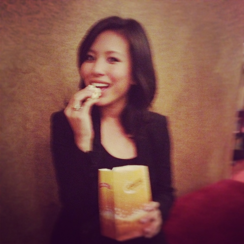 Me, eating complimentary movie popcorn #singlegirldinner
