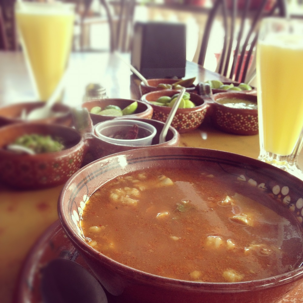 A bowl of  menudo  from Rico Mac Taco in Puerto Vallarta, Mexico