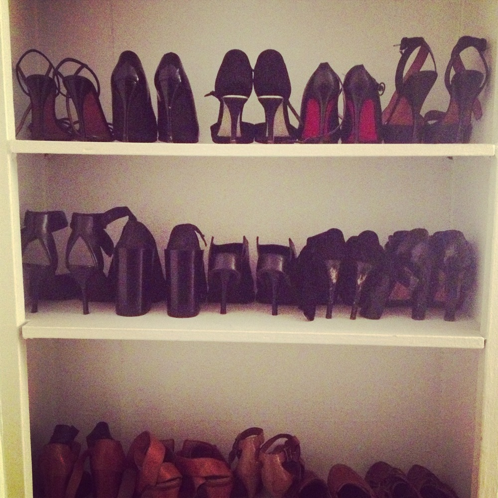All of my shoes are now organized in the built-in bookshelf in my room. (I know. I have a lot of black shoes.)