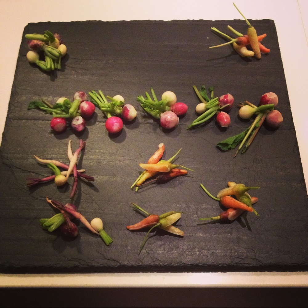 Hors d'Oeurvre: Miniature Vegetables Dipped in Lavender Butter