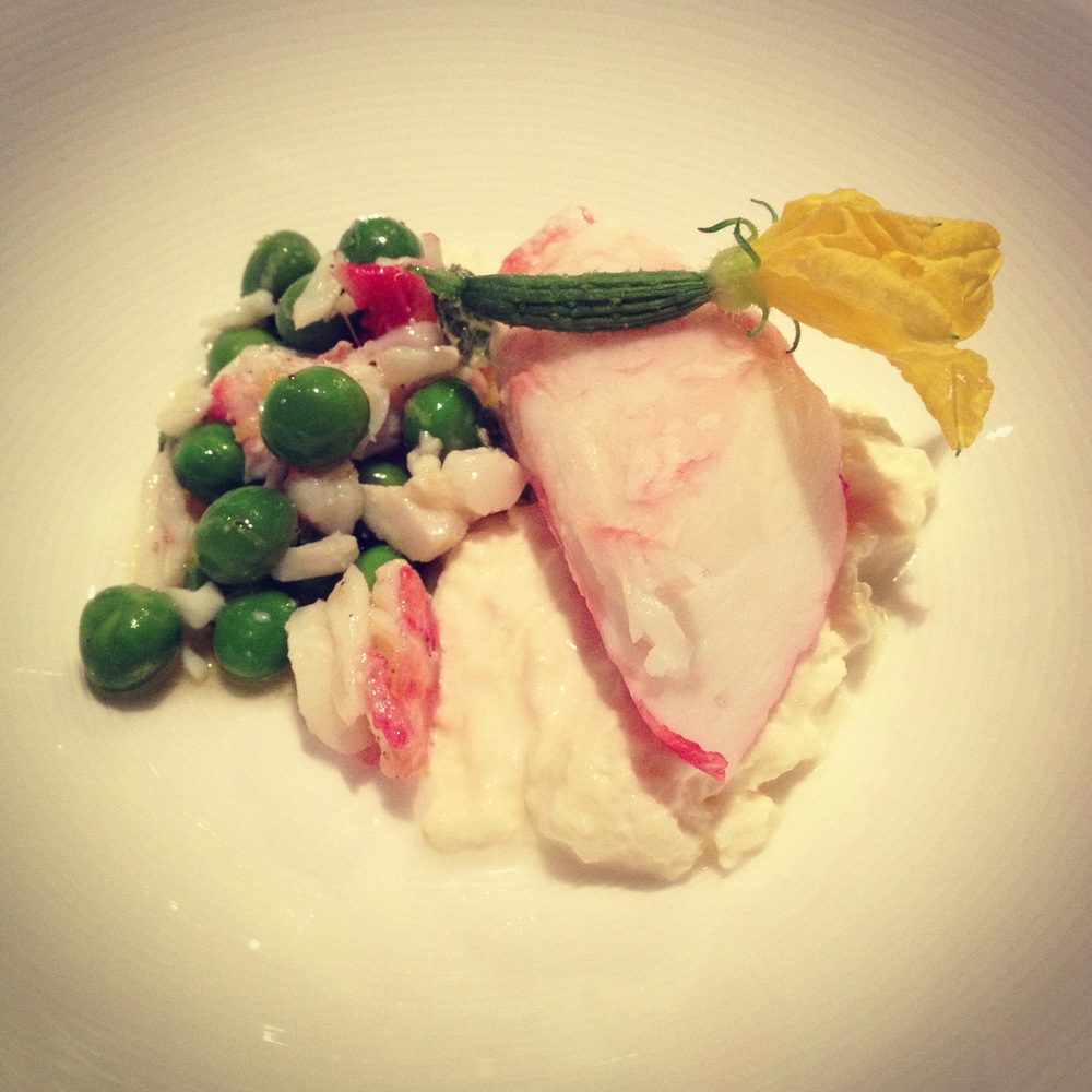 2nd Course: Kamkatcha King Crab with Burrata & California Peas