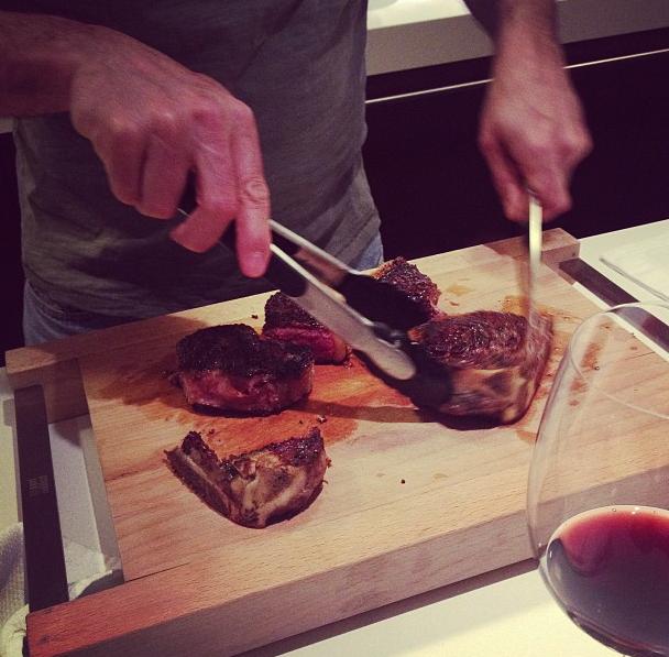 Man. Steak. Wine.