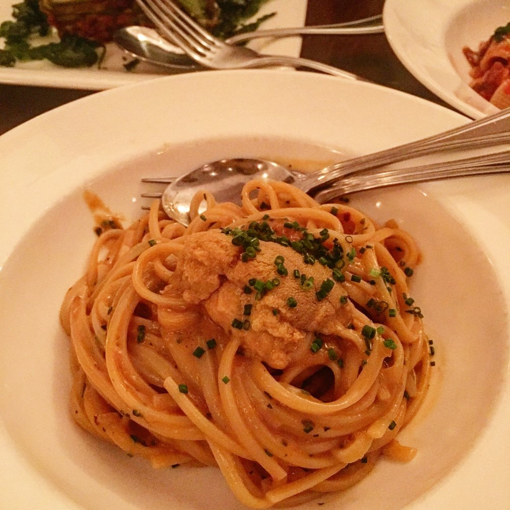 Linguine with Santa Barbara sea urchin and chives