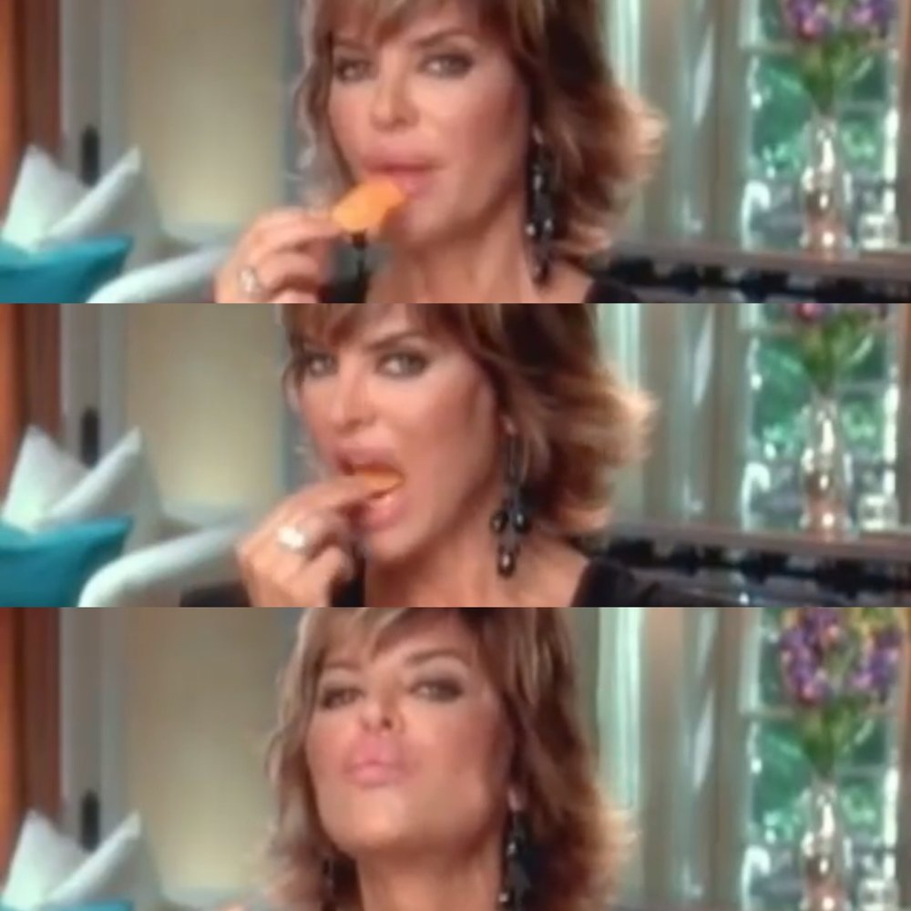 Lisa Rinna, owning it–with diamonds and Doritos.