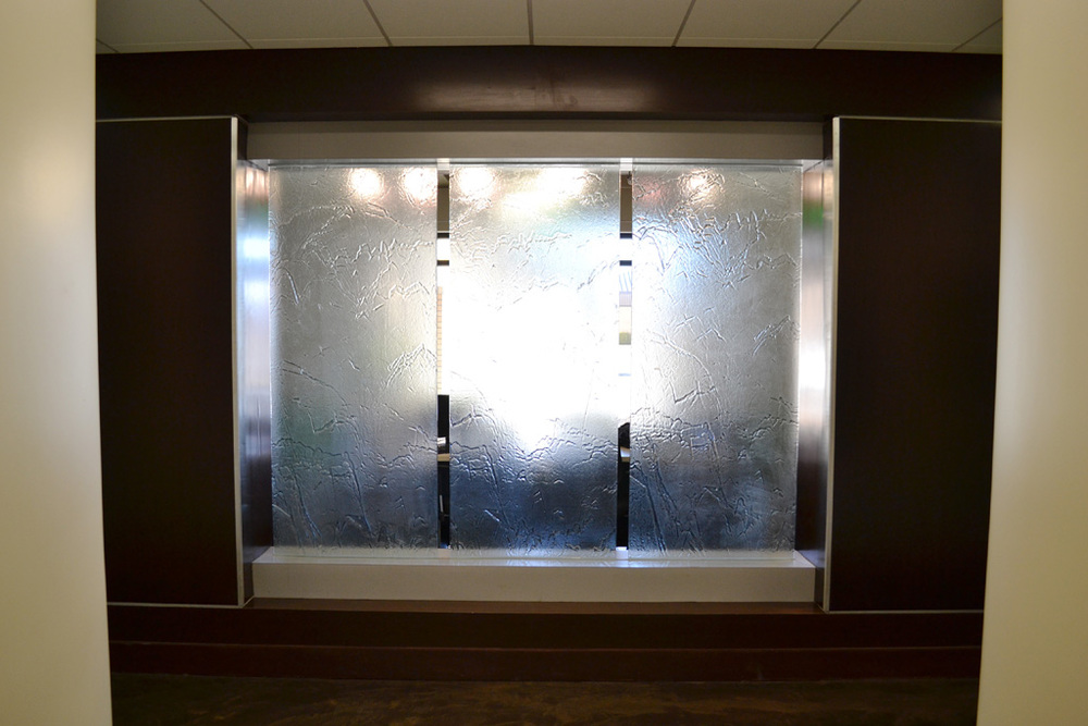 Waterfall Glass Feature Wall at Reception