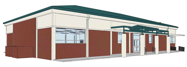 Rendering of retrofit metal roof and new entrance canopy to be constructed in this project.