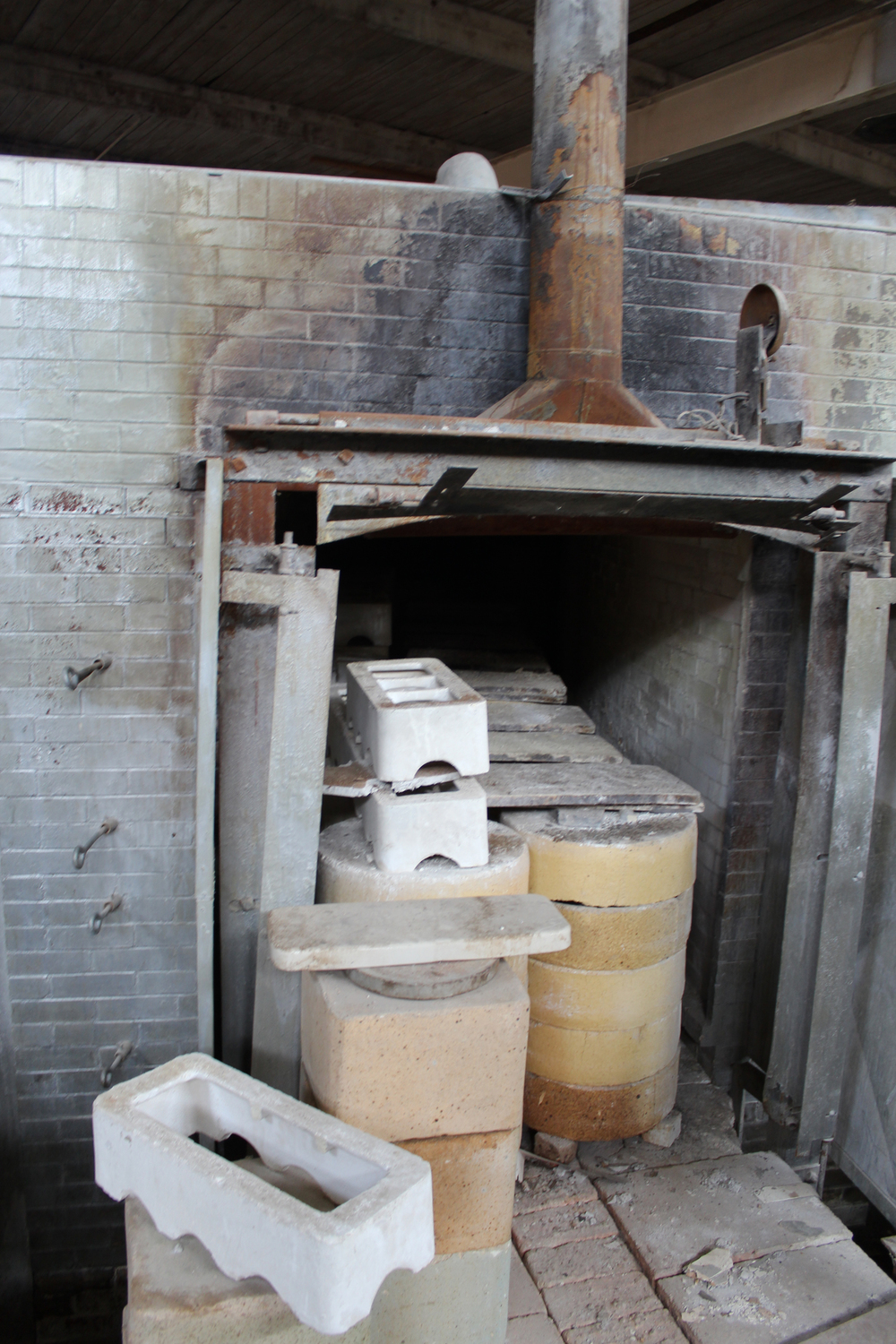 Kiln filled with saggars (which contain bisqued or glazed work that has been stacked inside with stilts)