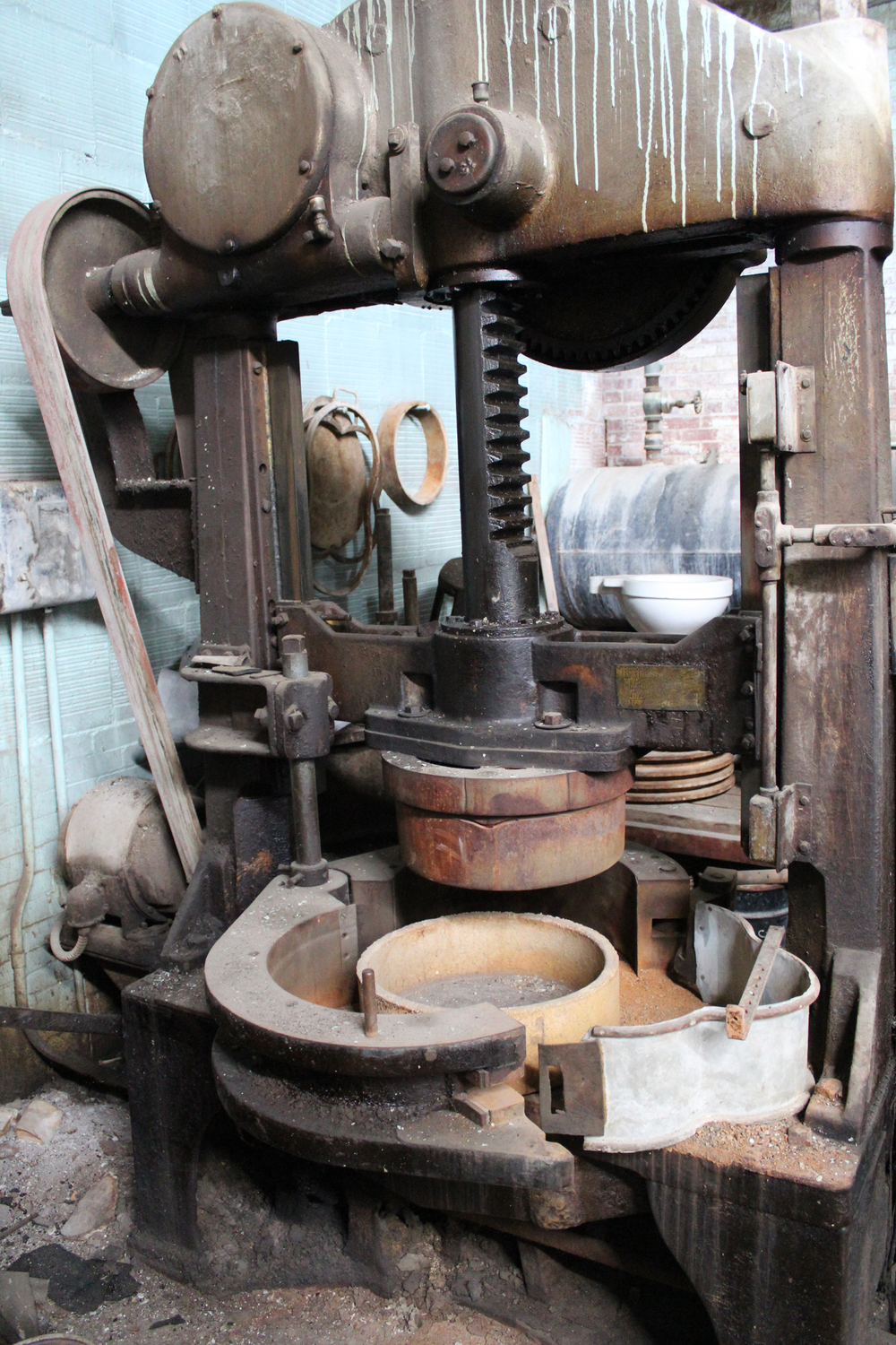 This is a press machine for making the saggars that the ware is fired in.