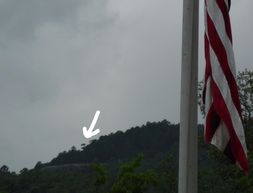 Arrow points to the regional Antenna Pine tree as seen from the flag grounds! We will hang the flag there next time guys!