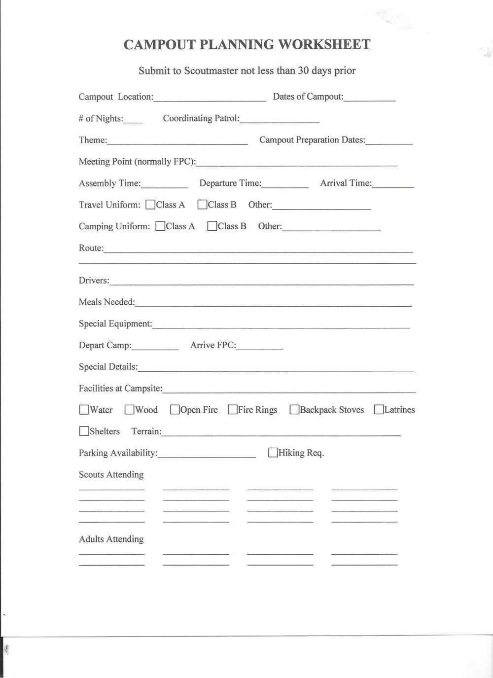 Troop Planning Worksheet Girl Scout Troop Planning Worksheet