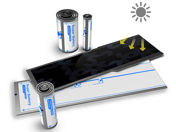 Solar Battery Concept - Unroll to charge and roll to various sizes for use