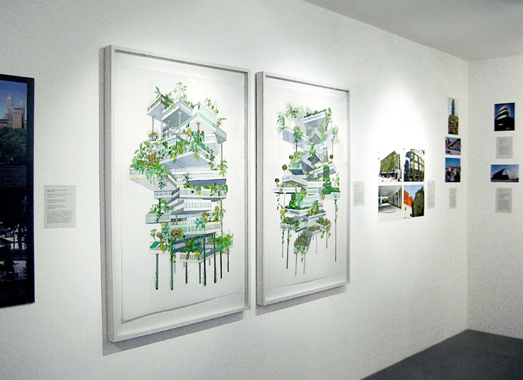 Installation view, Vertical Garden (Weeds) and Vertical Garden (Topiaries)