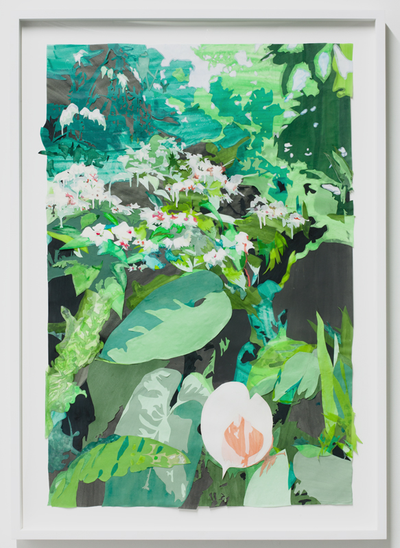 Borrowed Landscape (Tropics of Africa, Asia and the Amazon via Kyoto),  mixed media collage on paper in frame, 30.75 x 43.25 inches (framed), 2012/2013.  Photogra  ph by  Jason Mandella