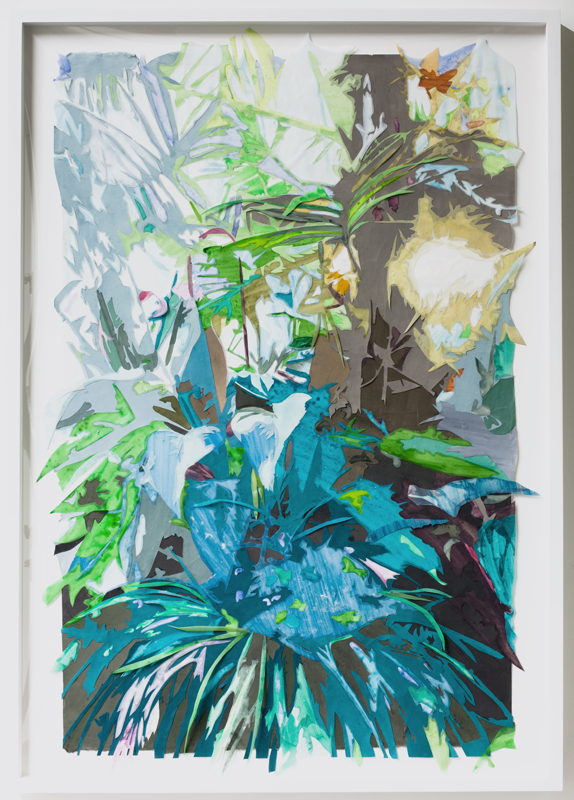 Borrowed Landscape (Tropics of Africa, Asia and the Amazon via the Bronx),  mixed media collage on paper in frame, 30.75 x 43.25 inches (framed), 2013.  Photogra  ph by  Jason Mandella