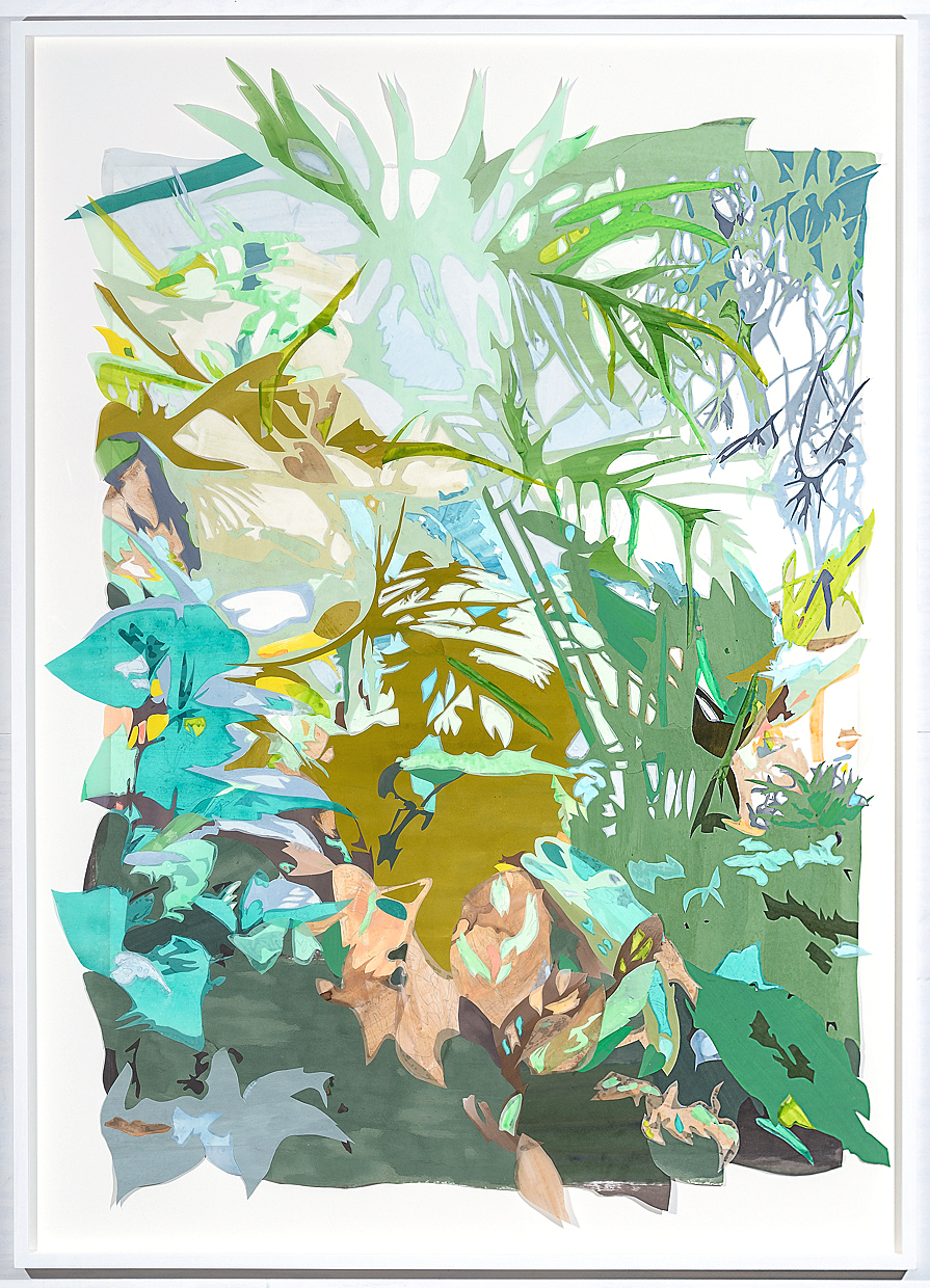 Borrowed Landscape (Tropics of Africa, Asia and the Amazon via the Bronx II) , 2014. Acrylic on washi paper and mylar, 62 x 45 inches (framed).  Photograph by Paul Takeuchi