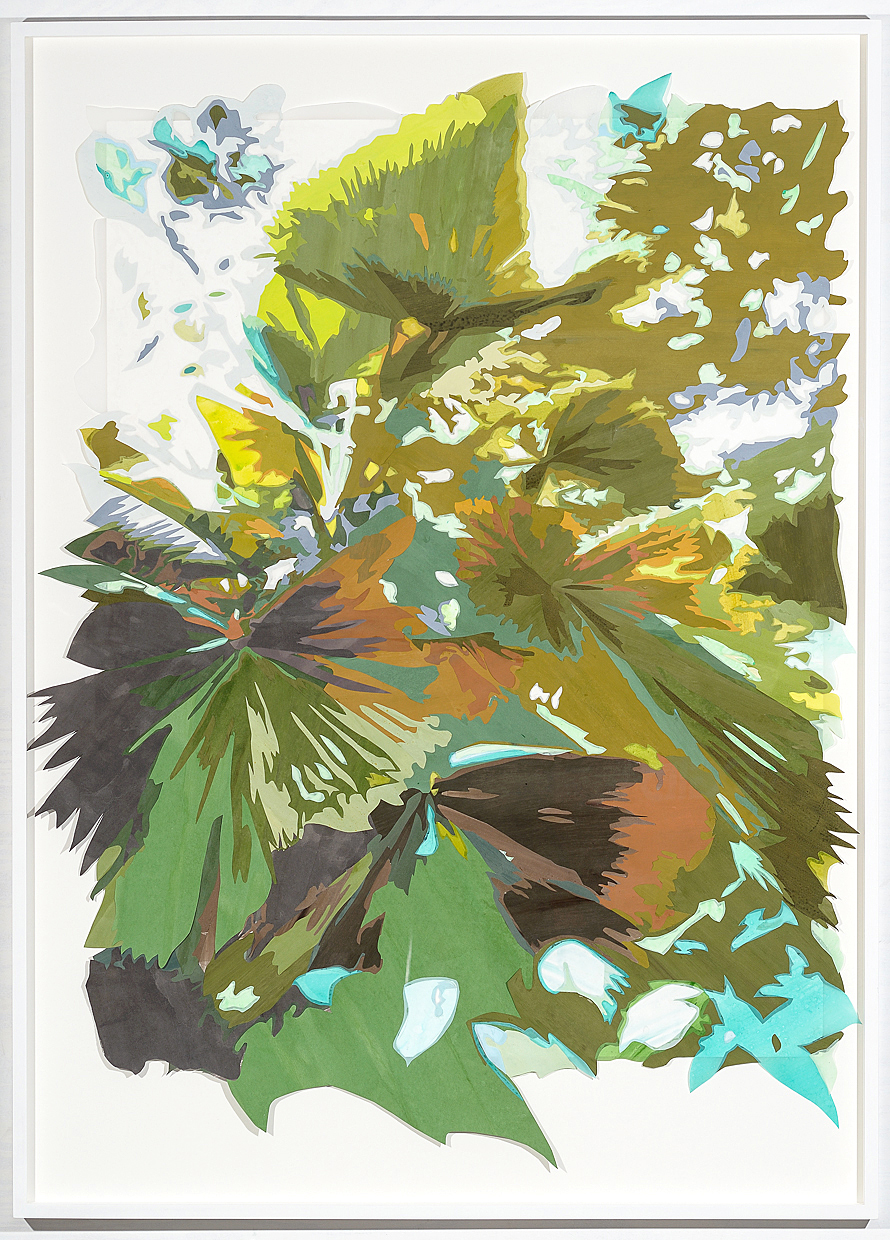 Borrowed Landscape (Tropics of Africa, Asia and the Amazon via Brooklyn II) , 2014. Acrylic on washi paper and mylar, 62 x 45 inches (framed).  Photograph by  Paul Takeuchi