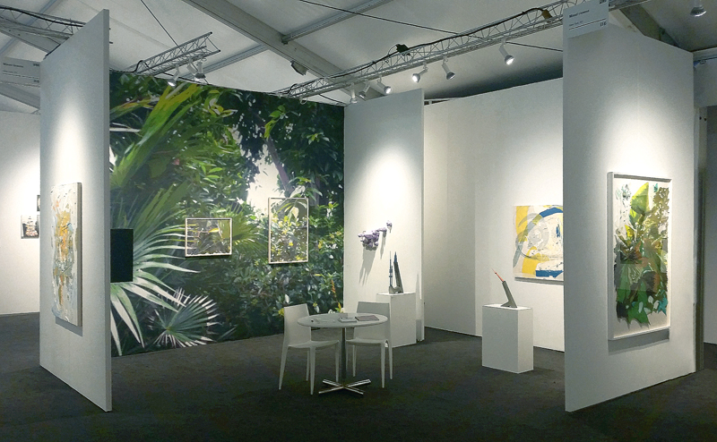 Installation view, Mixed Greens booth at Pulse Miami Beach, 2014. Digitally printed wallpaper with framed mixed-media collages (acrylic on washi paper and mylar cutouts), 12 x 15 feet (framed collages: 20 x 26 inches and 28 x 40 inches).