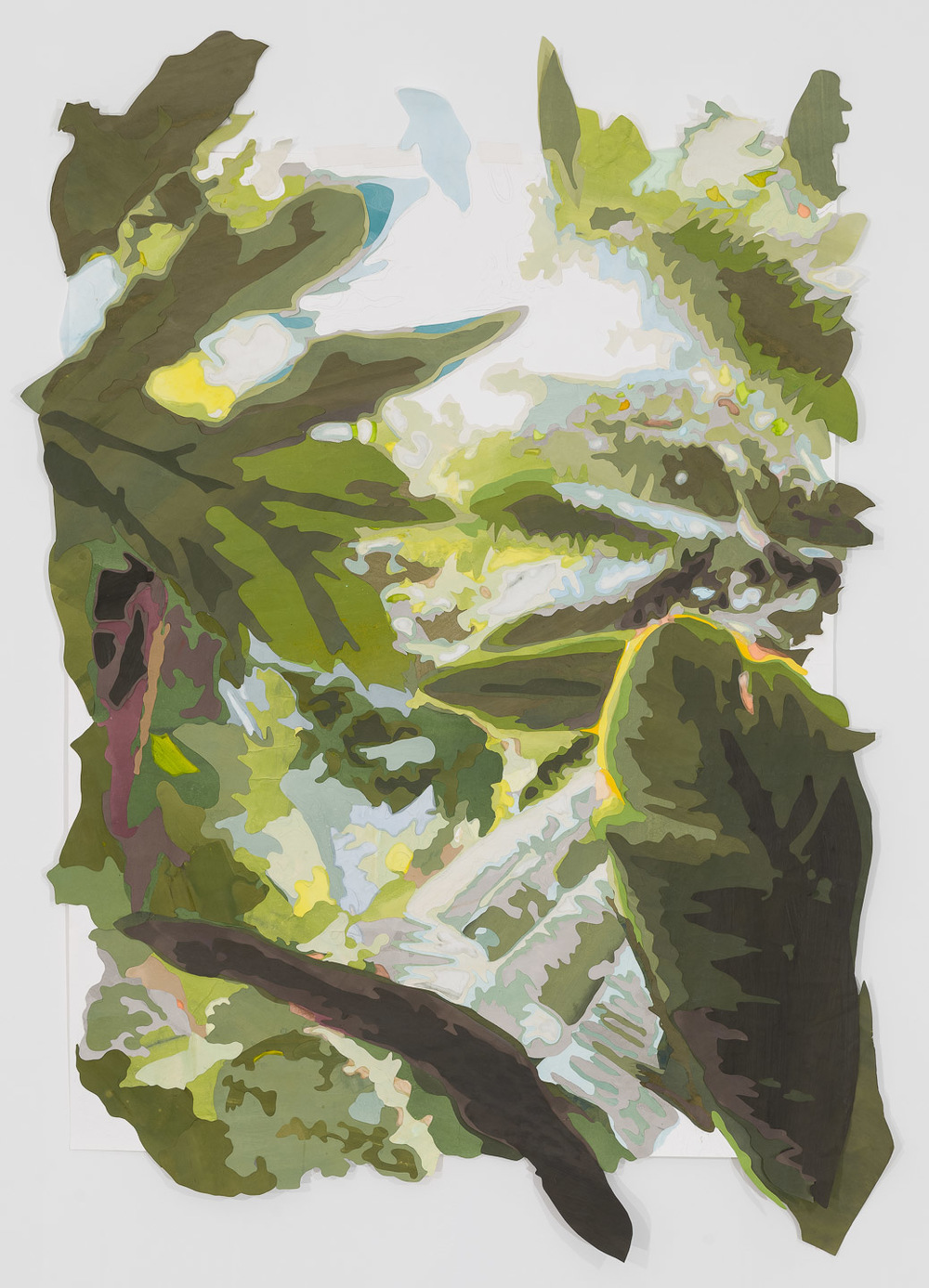 Scene from a Cultivated Jungle (view II) , 2015. Mixed media on washi paper and mylar, 62 x 45 inches.  Photograph by Etienne Frossard