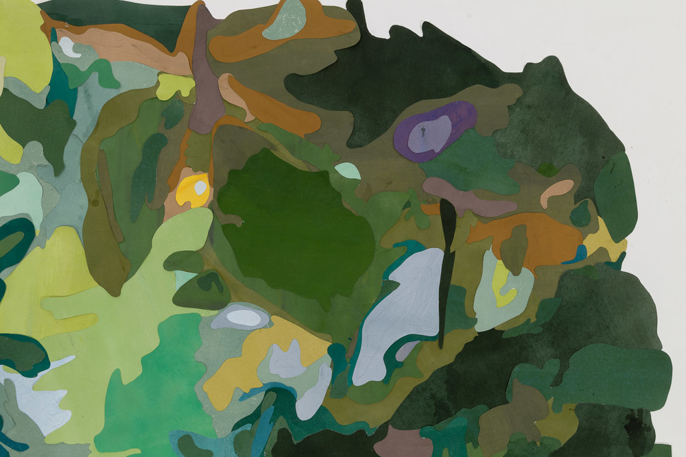 Scene from a Cultivated Jungle (panorama)  detail, 2015. Mixed media on washi paper and mylar, 42 3/8 x 59 7/8 inches.   Photograph by Etienne Frossard