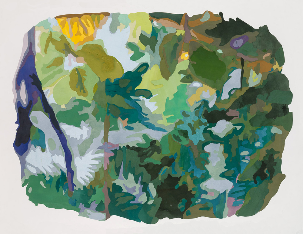 Scene from a Cultivated Jungle (panorama),  2015. Mixed media on washi paper and mylar, 42 3/8 x 59 7/8 inches.   Photograph by Etienne Frossard