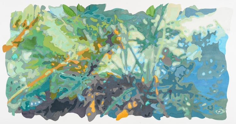 Camouflage (Tropical Jungle, Brooklyn) , 2015. Commission for New York Presbyterian Hospital. Acrylic on washi paper and mylar cutouts, 36 x 72 inches.  Photograph by    Paul Takeuchi
