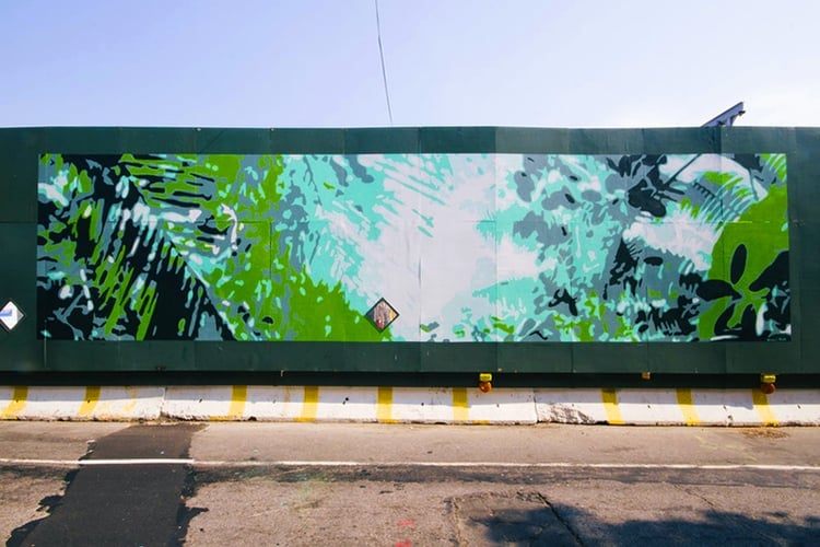 Mural commission for Pacific Park Arts, Dean Street, Brooklyn, NY.    Ten Murals, One Day  , curated by  Mike Perry .  Photography courtesy Pacific Park Arts, 2015